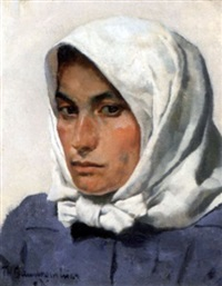 porträt einer jungen bäuerin by thomas baumgartner