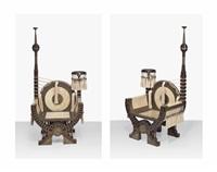 throne armchairs (pair) by carlo bugatti