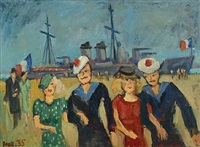 scenery from the docks with french sailors and their girfriends on the quay by max müller