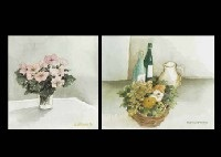 pink flowers in the cup and fruits, bottle and pitcher (2 works) by annapia antonini