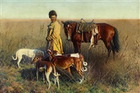 nach der jagd, ein kosak mit hunden und pferd in der steppe by hugo ungewitter