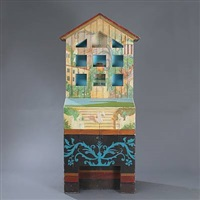 cabinet modelled as a house (painted by aage jensen) by ole kortzau