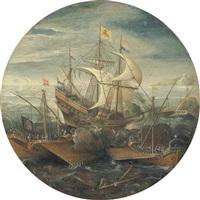 battaglia navale tra galeone e due galere by aert van antum