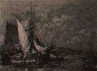 fischerboote vor mediterraner küste by pierre paul emiot