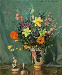 still life of a vase of flowers and figurine on a table by ernest lee major