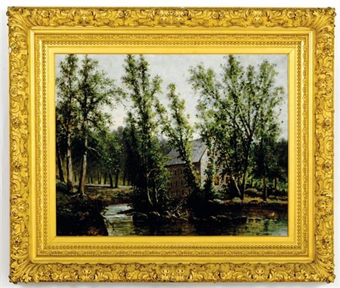 millhouse along riverbank by william h hillard