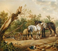 a farmer coupling his horses to the plough by charles towne