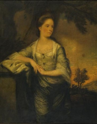 portrait of lady mary crosbie three quarter length a landscape beyond by joshua reynolds