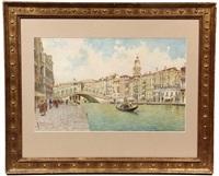 venice canal scene with rialot bridge by rafael senet y perez