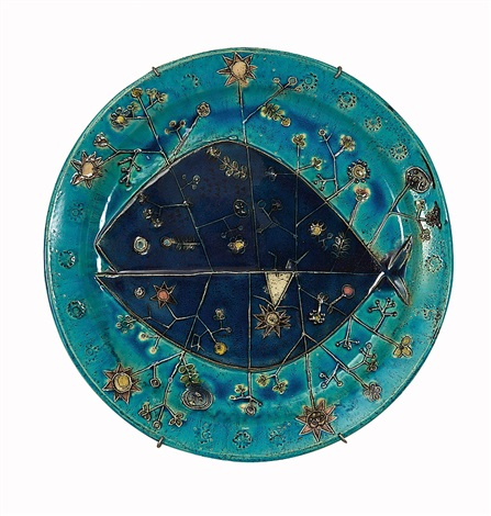blue and tray fish dish arabia by rut bryk