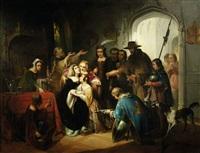 historische szene im interieur by jan hendrik van de laar
