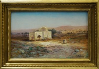 figures by a shrine in a north african landscape by samuel lawson booth