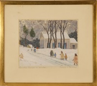 country church in winter by harold c. dunbar
