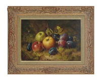 apples and plums on a mossy bank by william h. smith