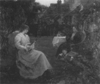 a garden scene with figures by tudor st. george tucker