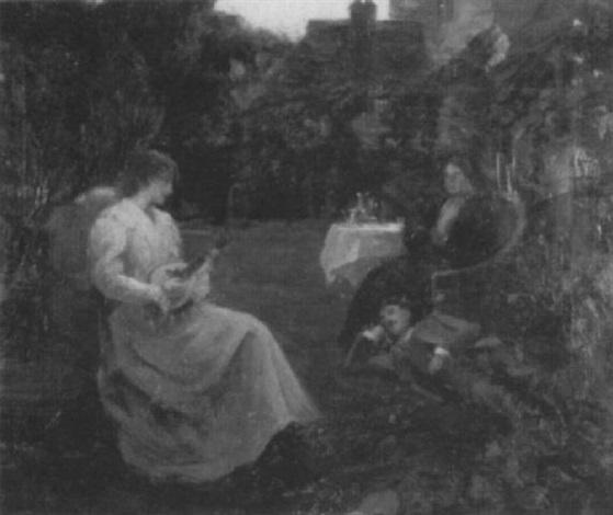 a garden scene with figures by tudor st george tucker