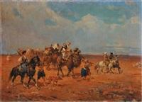 paesaggo con beduini (trittico) by alfredo vaccari