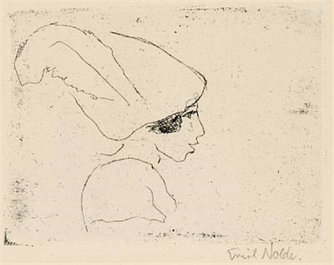 mädchenprofil girls profile by emil nolde