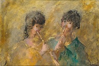 niños rocando la flauta by francisco arias alvarez