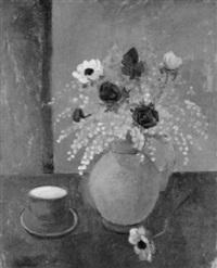 stilleben mit blumenstrauss und kaffeegedeck by alice jaquet