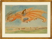 a dragon flying over a landscape by helga ancher