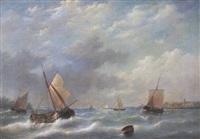 marine: segelboote auf bewegter see by frans jacobus van den blyk