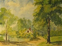 rural landscape with house by bernard badura