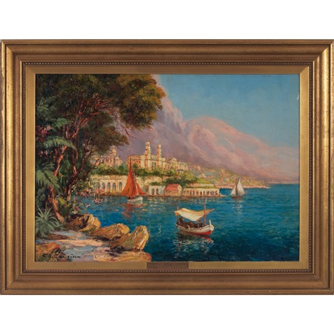 harbor scene by charles cousin