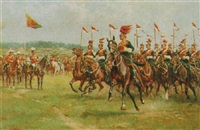 a troop of lancers in review before king george v by william barnes wollen