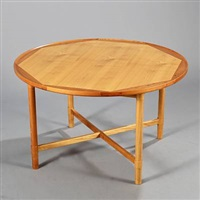 a circular coffee table (model 100) by vagn jacobsen