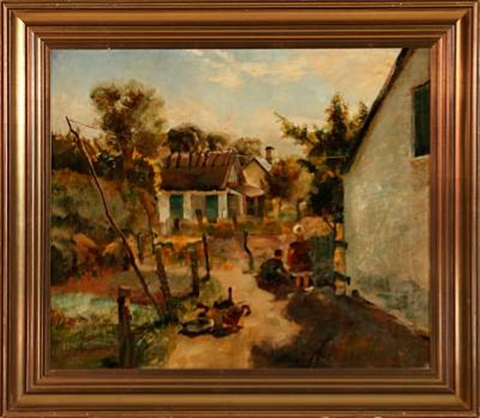 Small village with playing children by Ludvig Jacobsen on artnet