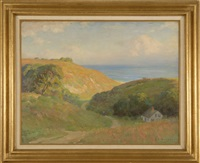 expansive cape cod landscape with house and distant ocean by harold c. dunbar