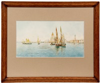 venice grand canal scene with many sailing craft by rafael senet y perez