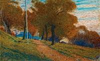 höst, motiv från kastellholmen (autumn, scene from kastellholmen, stockholm) by nils kreuger