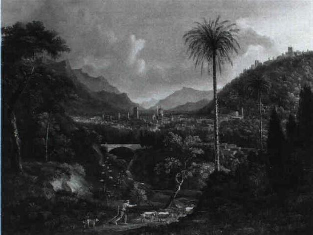 sudliche von bergen umgebene stadt by august siegert