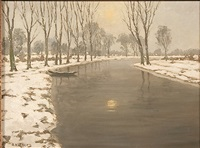 winter river landscape at dusk by adolf hilgers