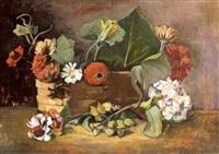 zinnien und hortensien im korb by ernst stadelmann