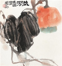 北瓜 镜心 设色纸本 (vegetables) by jiang baolin