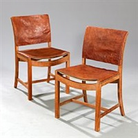 a pair of oak side chairs by mogens voltelen