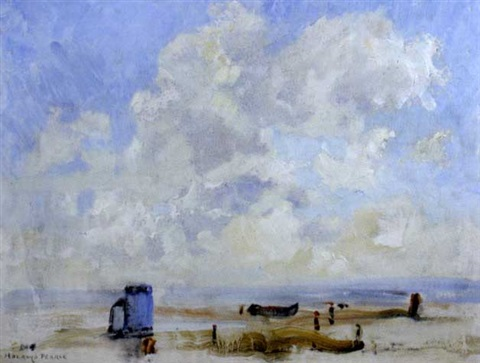 beach scene suffolk shore by edward holroyd pearce
