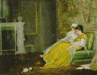 junge damen der zeit um 1800 im salon bei der lektüre, während das kätzchen am boden spielt by felix friedrich von ende