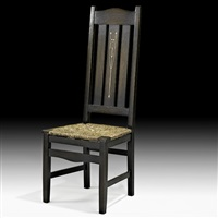 rare inlaid tall-back chair by harvey ellis
