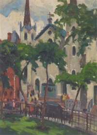 street scene with church by harry t. fisk