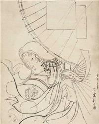 porträt einer dame unter einem schirm mit einem tanzaku in der hand (draft for woodcut) by toyohara chikanobu