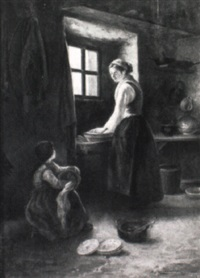 interior view with mother and child by philippe francois sauvage
