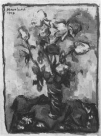bumenstilleben mit rosen in einer vase by miron sima