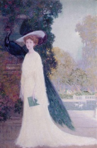 lady with peacock by charles m. relyea