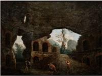 die ausgräber im minerva-tempel in rom by carlo labruzzi