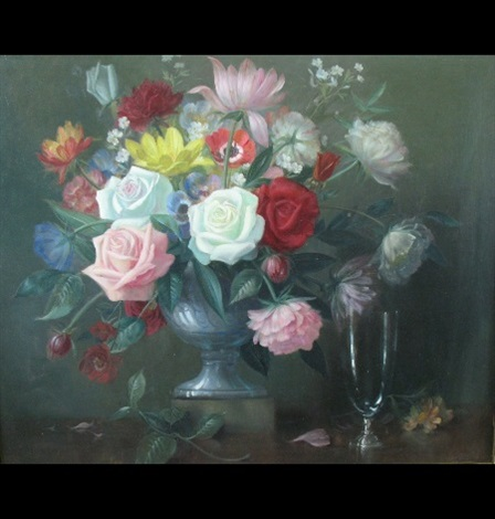 Still Life Of A Vase Of Flowers An Empty Wine Glass To The Side By