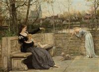 deux soeurs et leur frère jouant avec un chien près d'une muraille au bord de l'eau by jules wagner